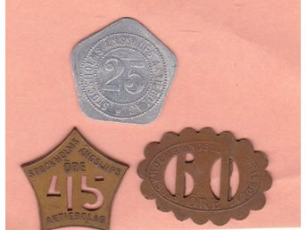STOCKHOLMS ÅNGSLUP   3 X   polletter  / 3 ferry-tokens