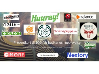 Huuray Presentkort 500:- (t.ex. The Body Shop , Nelly , Zalando mm)