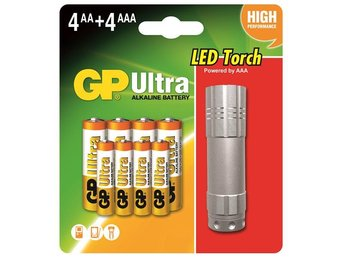 GP Batteri 4+4 AA/AAA Ultra Alkaline + LED Ficklampa /151151