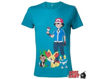 Pokemon Ash Ketchum T-Shirt Turkos (Large)