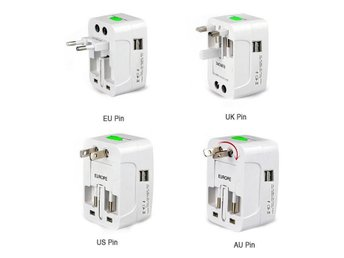 4-In-1 Universal Travelling AC Adapter Plug (EU/UK/US/AU) with USB Power Charger