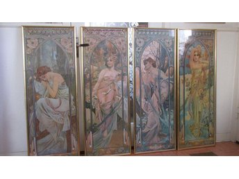 Alfons Mucha, Times of the day, Inramade tavlor. - Stora Skedvi - Alfons Mucha, Times of the day, Inramade tavlor. - Stora Skedvi