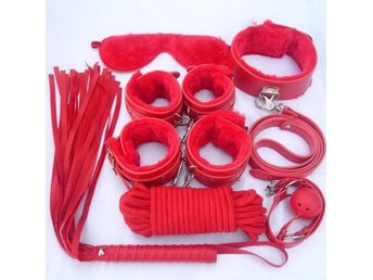 BDSM KIT BONDAGE Gag fetish toys! Perfect starter with 10 red soft/leather pcs!