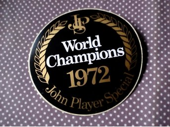 JOHN PLAYER SPECIAL WORLD CHAMPIONS 1972 ORIGINAL DEKAL I MYCKET BRA BEGAGNAT SK