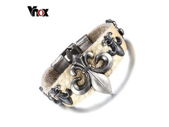 Armband Vnox Men's Wide Alloy Genuine Lea Default Title