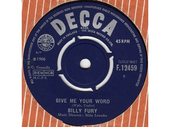 Billy Fury Give me your word