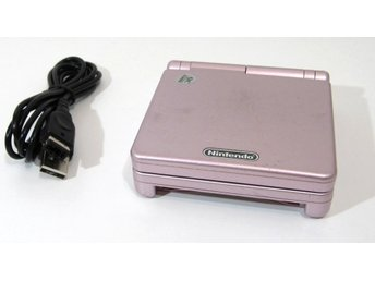 GBA Game Boy Advance SP, rosa, med laddare