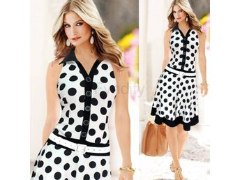 Klänning Fashion Polka Dot Sleeveless White / XXL