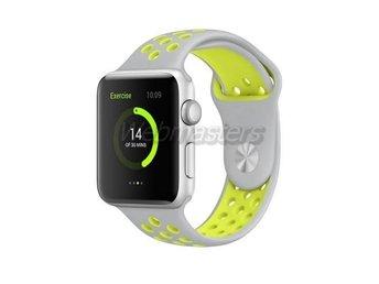 Apple Watch 38mm S/M silikon Sport klockarmband / Silver gul - Hong Kong - Apple Watch 38mm S/M silikon Sport klockarmband / Silver gul - Hong Kong