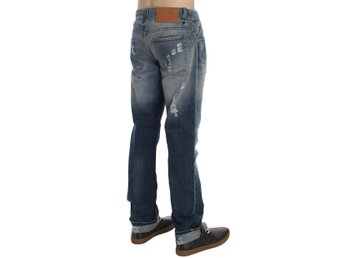 ACHT - Blue Wash Torn Cotton Stretch Regular Fit Jeans