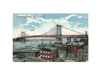 Vykort Williamsburg Brigde New York City USA Stämplat 3/8 1922