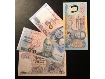 Thailand lot of 4 different 50 Baht notes Rama IX. Kval. 0, UNC