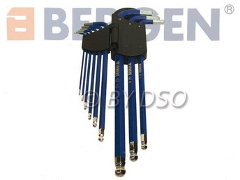BERGEN 9Pce Extra Long Magnetic Hex Alen Key Set with Ball End 1.5 to 10mm