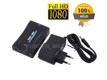 SCART till HDMI adapter + NÄTADAPTER laddare tv dvd video 1080p - fri frakt