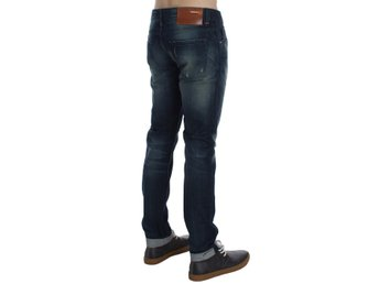ACHT - Blue Wash Cotton Denim Slim Fit Jeans