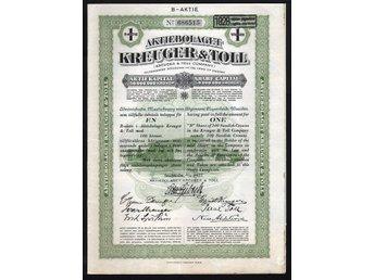 1927 Aktiebolaget Kreuger & Toll, B-Aktie 100 Kronor - Oakville, Ontario, Canada - 1927 Aktiebolaget Kreuger & Toll, B-Aktie 100 Kronor - Oakville, Ontario, Canada
