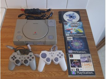 Playstation 1 + 5 Spel + 2 Handkontroller - PS1