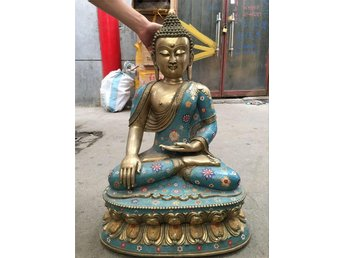 """19"""" China handwork bronze Cloisonne beautiful buddhism Sakyamuni buddha Statue - Gushi - 19"""" China handwork bronze Cloisonne beautiful buddhism Sakyamuni buddha Statue - Gushi"""