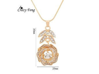 Elegant CZ Crystal Women Wedding Jewelry 18K Gold Plated Flower Pendant earings