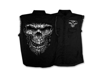 Shredder Skull Denim Sleeveless Shirt. XX-Large.