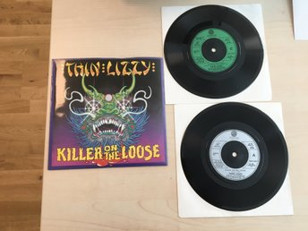 "THIN LIZZY / 2 X  VINYL , 7"", SINGEL, 45 RPM  /  KILLER ON THE LOOSE / FRÅN 1980"