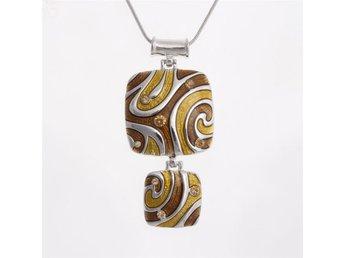 Exklusivt handgjort halsband silver brun brunt nougat - Hultsfred - Exklusivt handgjort halsband silver brun brunt nougat - Hultsfred
