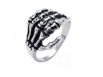 Skull Skeleton Hand Silverring.