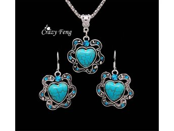 SetsTibetan Silver Warp Blue Crystal Round Turquoise Pendant Heart Necklace Earr