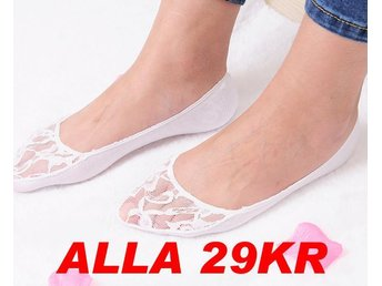 NYA!Lace Sheer Hollowing Boat strumpor Ankle Invisible Vit