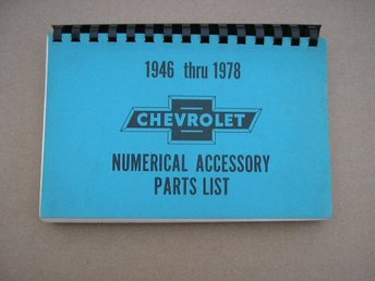 Numerical Accessory Parts List Cherolet 1946-1978