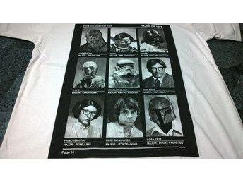 T-Shirt. Vit. Star Wars. Troopers. Chewbacca. Yoda. Vader. C3PO. College. Medium