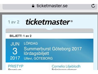1-2 Premium Biljetter till Summerburst Ullevi - Göteborg - 1-2 Premium Biljetter till Summerburst Ullevi - Göteborg