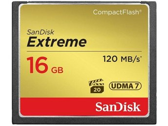SanDisk Extreme Compact Flash 120MB/s 16GB (Ny i förpackning)