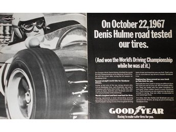 GOOD YEAR - RACING TIRES TIDNINGSANNONS Retro 1967