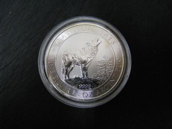 "¾ oz silvermynt Royal Canadian Mint ""Grey Wolf"" 2015 - Piteå - ¾ oz silvermynt Royal Canadian Mint ""Grey Wolf"" 2015 - Piteå"