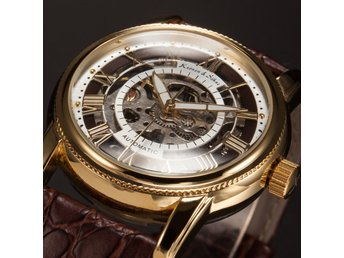 KS Rose Gold Mechanical  Transparent Leather Strap Skeleton Automatic Watch