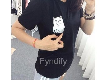 "Rolig T-shirt Dam ""F*ck You Cat"" Svart Strlk M"