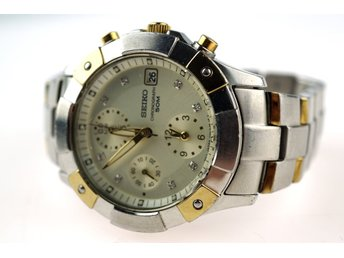 KLOCKA, Seiko, 7T92, chronograph, diamanter, quartz, ø: 35,9mm, armbandsur.