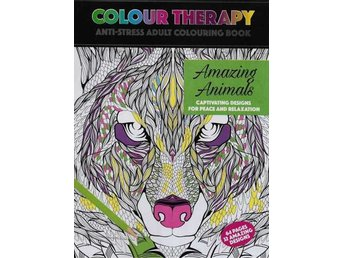 Colour Therapy, Amazing Animals, Anti-Stress Målarbok 64s
