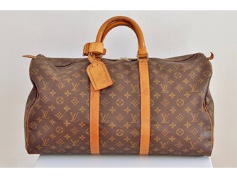 LOUIS VUITTON VINTAGE KEEPALL 50 MONOGRAM WEEKEND BAG CANVAS BRUN