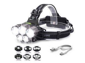 6000LM 5X XM-L T6 LED Lights Rechargeable Headlight Flashlight Torch Lamp + USB