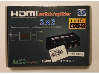 HDMI-Switch/Splitter (2x2) med 2 ing till 2 utg (NY)