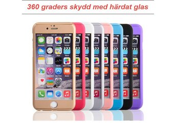 360 graders 3 in 1 iPhone 6 / 6s skal med härdat glas lila