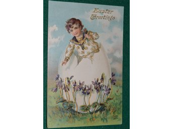 Easter Greetings postsämplat USA 1908