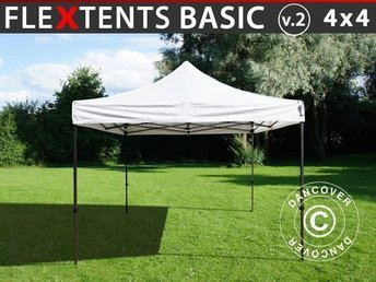 Snabbtält FleXtents Basic v.2, 4x4m Vit - Eventtält, Pop Up Tält, Easy Up Tält