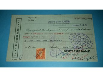 Deutsche Bank Berlin ¤ 1939 ¤ Pounds Shillings Pence ¤ Lloyds Bank
