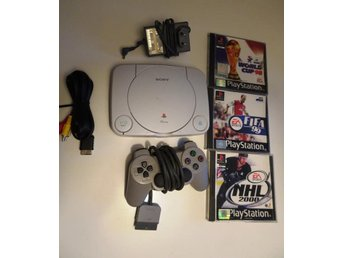 PS1 - Playstation One + 3 spel