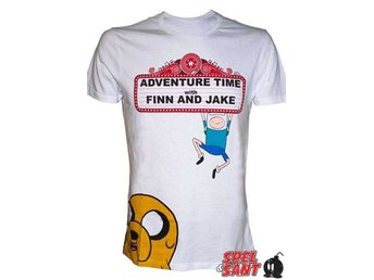 Adventure Time Finn and Jake Show Sign T-Shirt Vit (Medium)