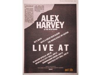 ALEX HARVEY & THE NEW BAND - LIVE TOUR DATES, STOR TIDNINGSANNONS 1980 - öckerö - ALEX HARVEY & THE NEW BAND - LIVE TOUR DATES, STOR TIDNINGSANNONS 1980 - öckerö