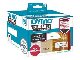 DYMO LW Durable shelving label 25mm x 89mm, 700 etiketter, vit